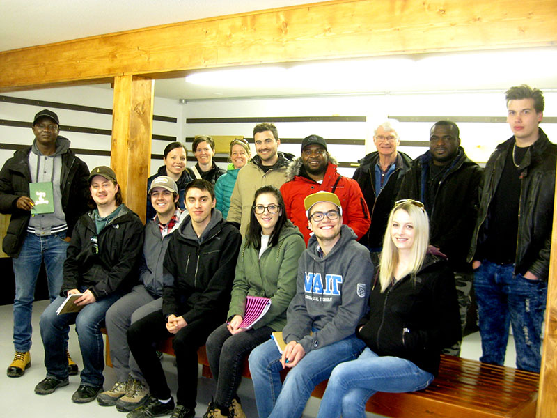 A group of NAIT students who were our first visitors to the Core Shack